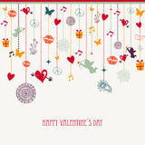 Happy Valentine`s day hanging love icons composition Stock Photos