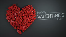 Happy Valentine`s Day Heap of Red Heart Shape 3D Rendering Royalty Free Stock Photos