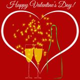 Happy Valentine`s day. Heart. A bottle and a glass with champagne. Vector. Illustration Royalty Free Stock Images