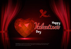 Happy Valentine's Day with a heart and cupid behind the scenes. Royalty Free Stock Photography