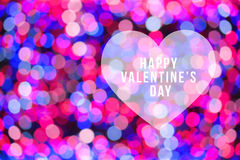 Happy Valentine's day. With heart in festive pink and blue blur bokeh background; use for love concept Stock Image
