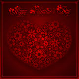 Happy valentine`s day - heart flowers collection royalty free illustration