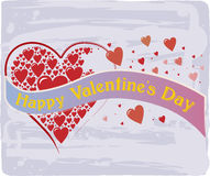 Happy Valentine's Day with Heart Pattern in Red and Violet Colors Royalty Free Stock Image