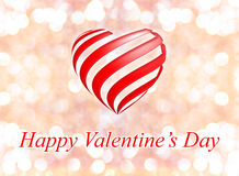 Happy Valentine's Day with heart on pink bokeh light background Stock Photos