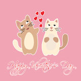 Happy Valentine's Day with hearts and cats. Stock Photography