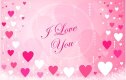 Happy Valentine`s Day hearts message Royalty Free Stock Image