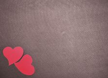 Happy Valentine`s Day Hearts On Brown Grunge Background Royalty Free Stock Image