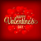 Happy Valentine's Day Hearts Vector Illustration on red background Stock Photo