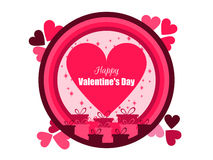 Happy Valentine`s Day. Holiday card with hearts and gifts. Vector. Illustration Stock Photography