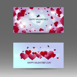 Happy Valentine`s day horizontal banner with white, red and pink hearts. Vector background. Stock Photo