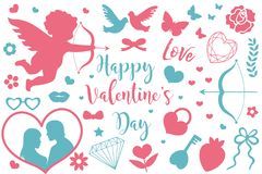 Happy Valentine`s Day icon set of stencil silhouettes. Cute romance love collection of design elements with cupid, heart. Couple, pigeons, diamond, butterfly stock illustration