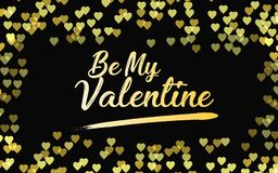 Happy Valentine`s Day  illustration. Be my valentine abstract in golden heart bokeh background. EPS 10 Stock Images