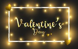 Happy Valentine`s Day  illustration. Valentine`s Day abstract and golden hearts. Yellow ligts shinning. EPS 10 Stock Images