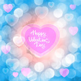 Happy Valentine`s Day, inscription on abstract background Royalty Free Stock Photo