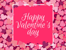 Happy Valentine`s Day. The inscription in the frame on the background seamless pattern. With hearts. Vector illustration Royalty Free Stock Photo