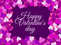 Happy Valentine`s Day. The inscription in the frame of seamless pattern with hearts.. Vector illustration Stock Images