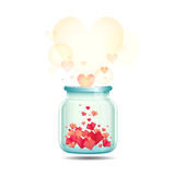 Happy Valentine's Day with jar of paper hearts Royalty Free Stock Photos