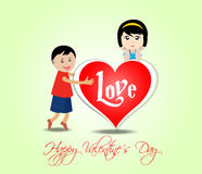 Happy valentine's day with kids and heart Stock Images