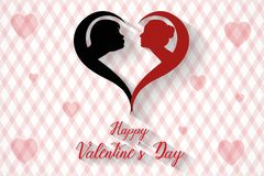 Happy valentine`s day kissing couples silhouette background, vector. Illustration, eps file stock illustration