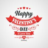 Happy Valentine's Day Lettering Card - Royalty Free Stock Photography