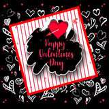 Happy Valentine`s day lettering card. Vector illustration Stock Photo