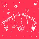 Happy Valentine`s day lettering card. Vector illustration Royalty Free Stock Photos