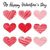 Happy Valentine`s Day lettering and doodle hearts on white background royalty free illustration