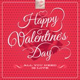 Happy Valentine's Day - Lettering. EPS 10 Royalty Free Stock Photo