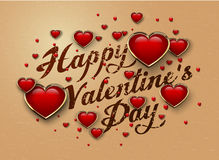 Happy Valentine`s Day lettering Greeting Card with glossy red 3d heart in golden frame Stock Photos