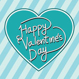 Happy Valentine's Day lettering Greeting Card with heart , vecto Royalty Free Stock Photography