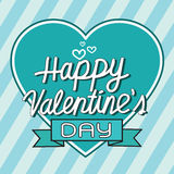 Happy Valentine's Day lettering Greeting Card with heart , vecto Stock Photo