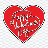 Happy Valentine's Day lettering Greeting Card with heart , vecto Stock Images