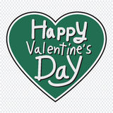 Happy Valentine's Day lettering Greeting Card with heart , vecto Stock Photography