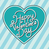 Happy Valentine's Day lettering Greeting Card with heart, vector Stock Images