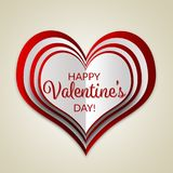 Happy Valentine`s Day lettering Greeting Card with a layered heart on beige background.  Stock Photos