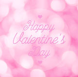 Happy Valentine's Day lettering Greeting Card on pink bokeh back Stock Photo