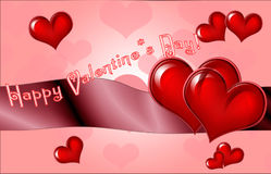 Happy Valentine`s Day lettering Greeting Card on red background, Stock Photo