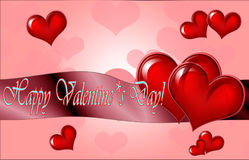 Happy Valentine`s Day lettering Greeting Card on red background, Royalty Free Stock Photography