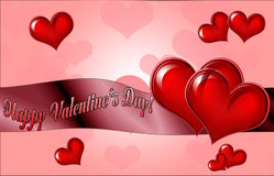 Happy Valentine`s Day lettering Greeting Card on red background, Royalty Free Stock Image