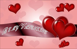 Happy Valentine`s Day lettering Greeting Card on red background, Stock Images