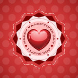 Happy Valentine s Day lettering Greeting Card. On red background, vector illustration - love heart - eps 8 available Royalty Free Stock Photos