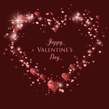 Happy Valentine`s Day lettering Greeting Card on red background, vector illustration Royalty Free Stock Photos