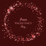 Happy Valentine`s Day lettering Greeting Card on red background, vector illustration Royalty Free Stock Photography