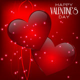 Happy Valentine's Day lettering Greeting Card on. Valentines Day Design. Red Heart with Blurred Background. Holiday Lights Royalty Free Stock Photos