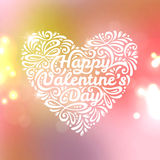 Happy Valentine's Day lettering Greeting Card. Vector illustration. Blurred background with lights. Pastel delicate colors. Shiny background with empty space Stock Images