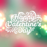 Happy Valentine's Day lettering Greeting Card with. Vector illustration. Blurred background with lights. Pink and turquoise colors Royalty Free Stock Photography