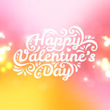 Happy Valentine's Day lettering Greeting Card with. Vector illustration. Blurred background with lights. Pink and yellow colors Stock Image