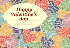 Happy Valentine`s Day lettering Greeting Card. Vector illustration Royalty Free Stock Images