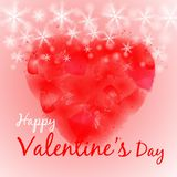 Happy Valentine`s Day Lettering on red watercolor of heart and snow background. Vector illustration. Design elements for banners, stock illustration