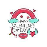 Happy Valentine`s Day lettering with the symbols of Valentine`s Day. royalty free illustration